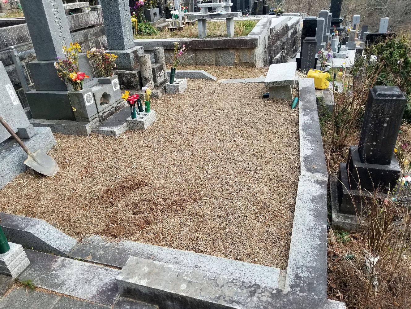 お墓の改修工事