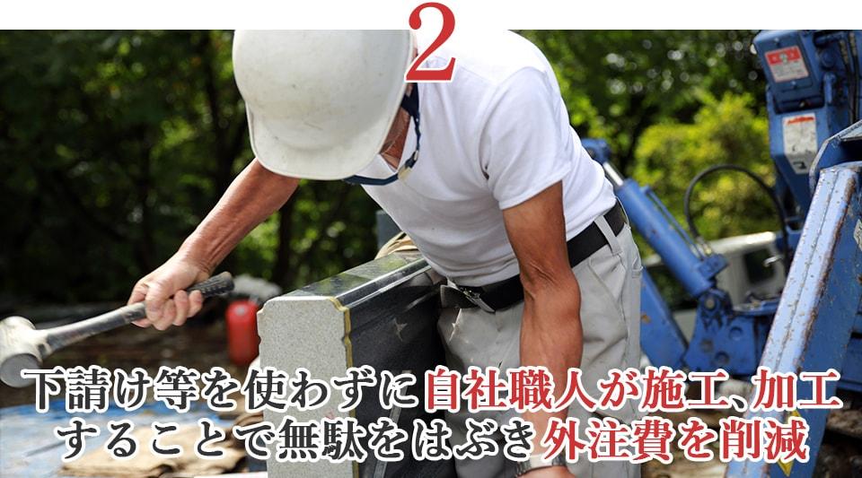 ②下請け等を使わずに自社職人が施工、加工することで無駄をはぶき外注費を削減
